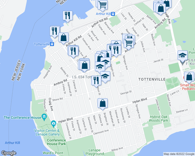 map of restaurants, bars, coffee shops, grocery stores, and more near 60 Brighton Street in Staten Island