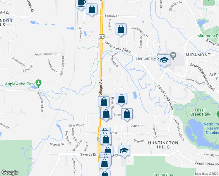 map of restaurants, bars, coffee shops, grocery stores, and more near 123 Fossil Ct W in Fort Collins