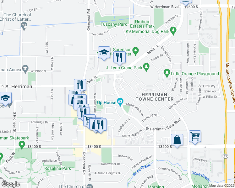 map of restaurants, bars, coffee shops, grocery stores, and more near Herriman Rose Blvd in Herriman