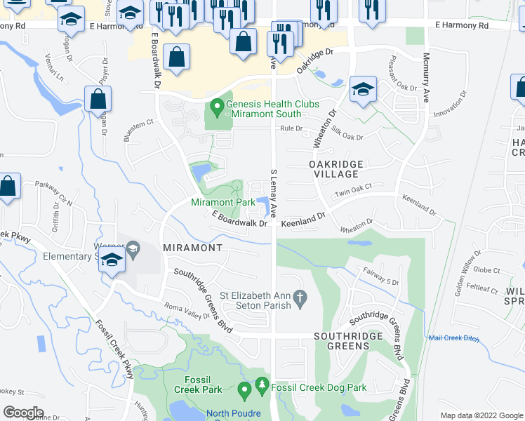 map of restaurants, bars, coffee shops, grocery stores, and more near 5220 East Boardwalk Drive in Fort Collins