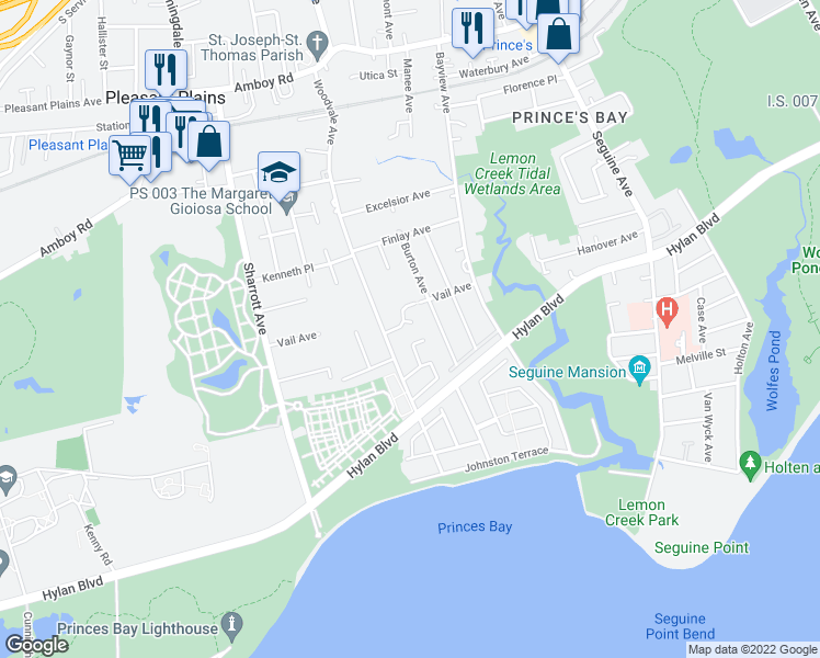 map of restaurants, bars, coffee shops, grocery stores, and more near 180 Vail Avenue in Staten Island