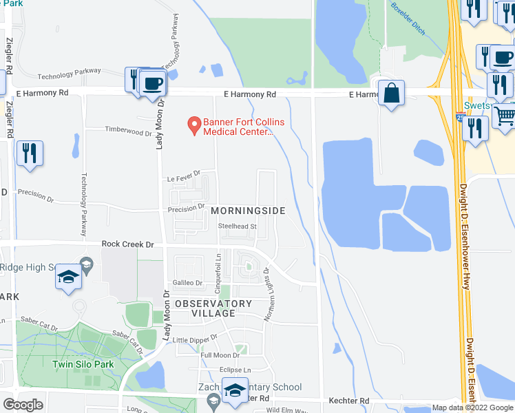map of restaurants, bars, coffee shops, grocery stores, and more near 3900-3998 Precision Drive in Fort Collins