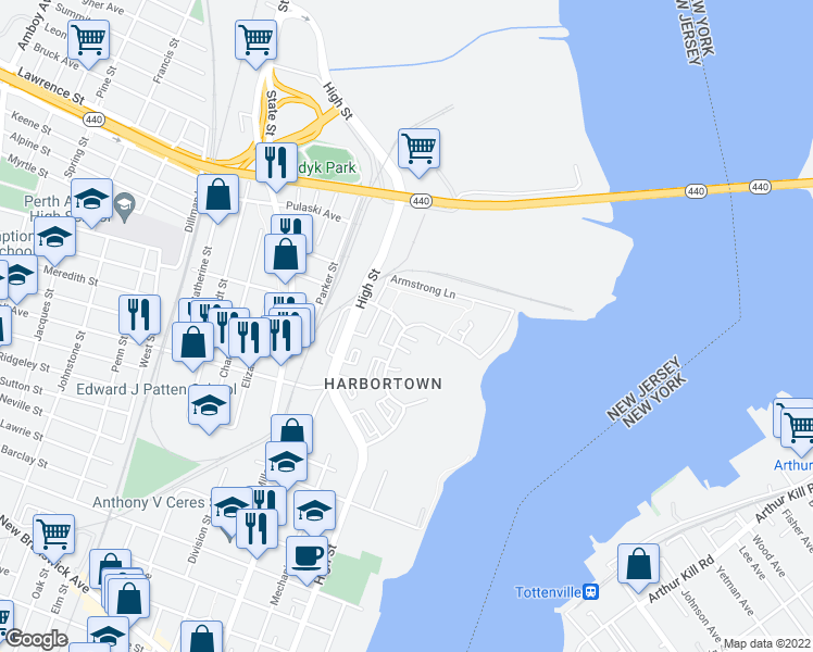 map of restaurants, bars, coffee shops, grocery stores, and more near 736 Harbortown Boulevard in Perth Amboy