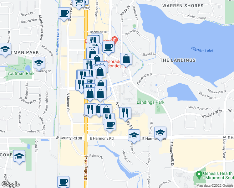 map of restaurants, bars, coffee shops, grocery stores, and more near 4315,1-8 John F Kennedy Parkway in Fort Collins