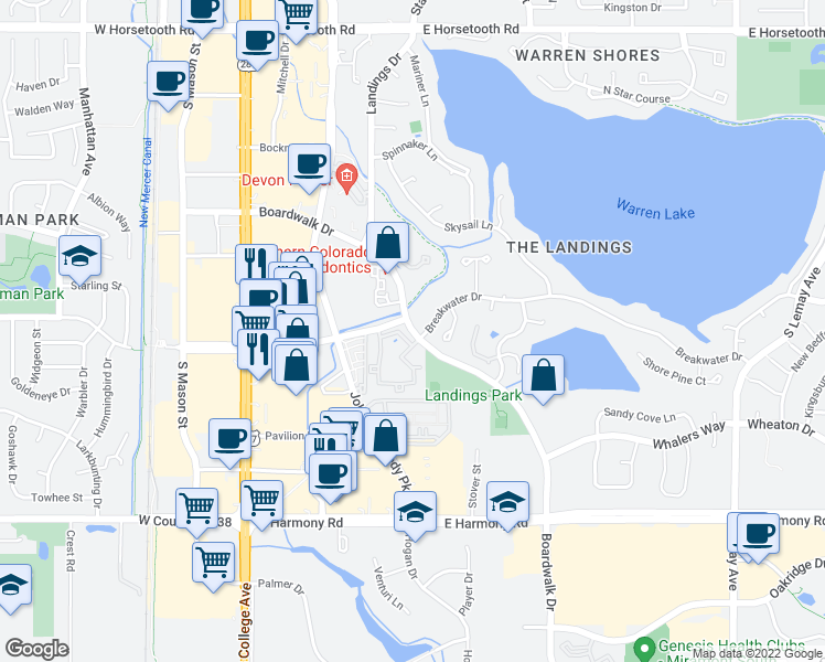 map of restaurants, bars, coffee shops, grocery stores, and more near 4247-4361 East Boardwalk Drive in Fort Collins