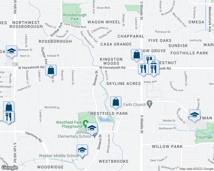 map of restaurants, bars, coffee shops, grocery stores, and more near Pleasant Valley Trail in Fort Collins