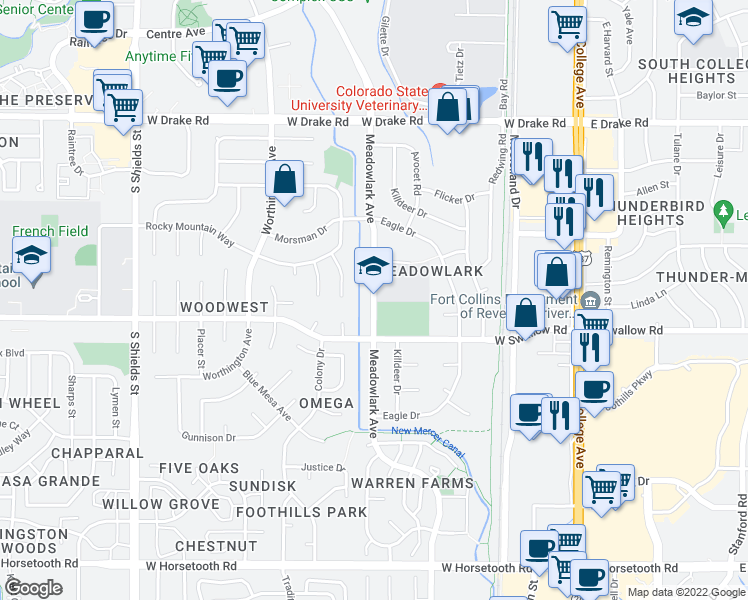 map of restaurants, bars, coffee shops, grocery stores, and more near 3000-3056 Meadowlark Avenue in Fort Collins