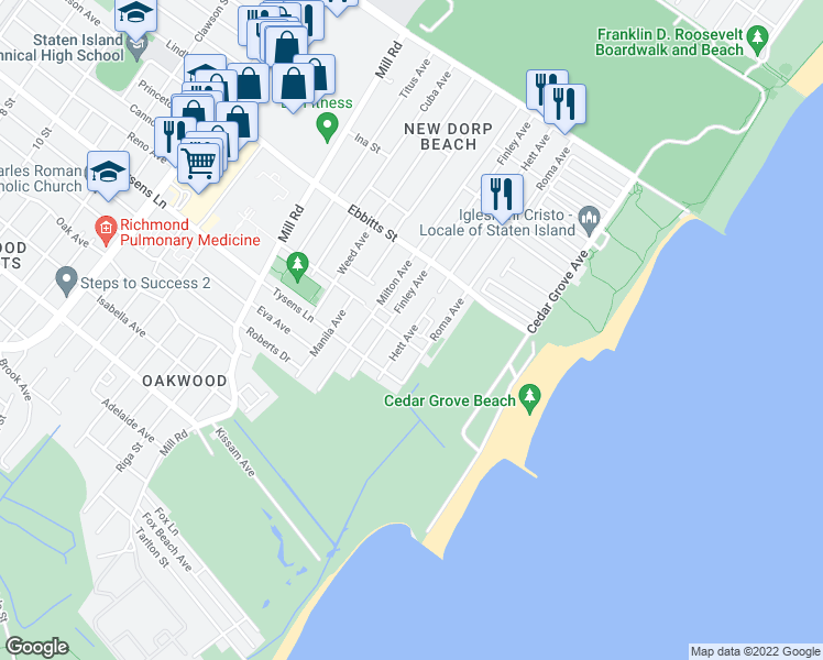 map of restaurants, bars, coffee shops, grocery stores, and more near Hett Ave in Staten Island