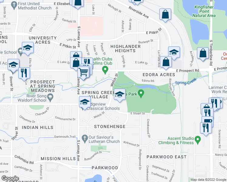 map of restaurants, bars, coffee shops, grocery stores, and more near 1420 East Stuart Street in Fort Collins