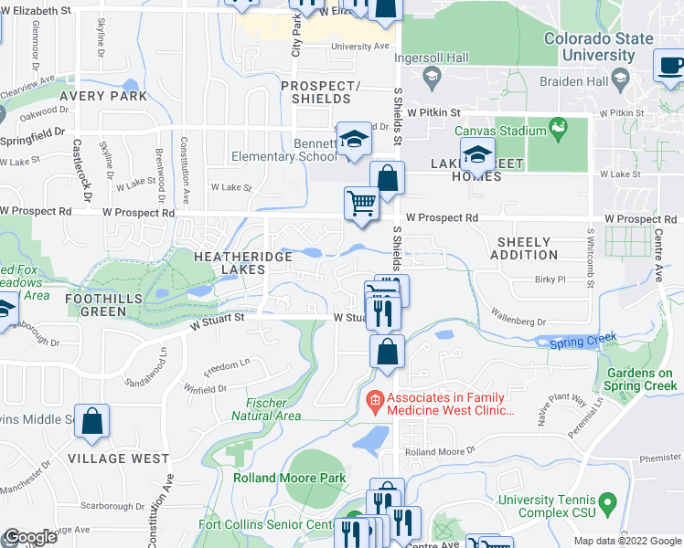 map of restaurants, bars, coffee shops, grocery stores, and more near 1736 Heritage Circle in Fort Collins