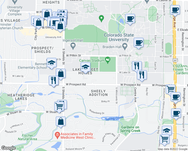 map of restaurants, bars, coffee shops, grocery stores, and more near 712-998 West Lake Street in Fort Collins
