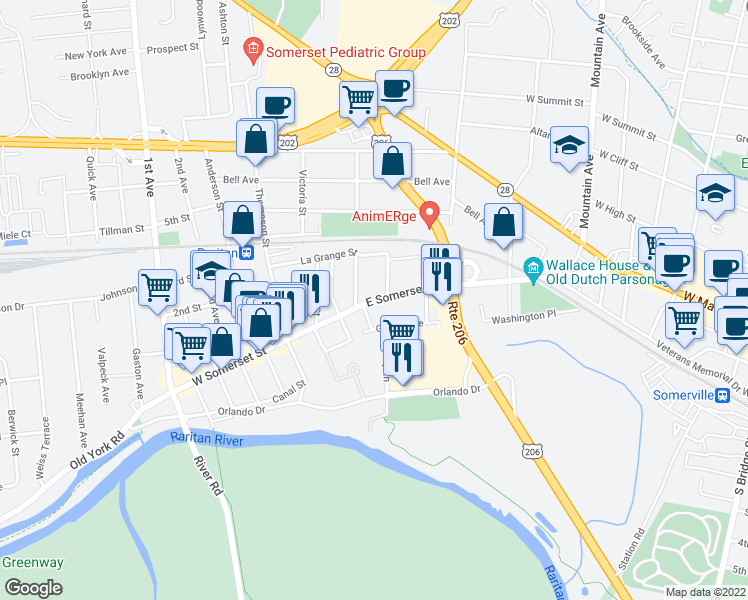 map of restaurants, bars, coffee shops, grocery stores, and more near 53 East Somerset Street in Raritan