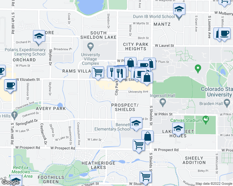 map of restaurants, bars, coffee shops, grocery stores, and more near 1220-1398 University Ave in Fort Collins