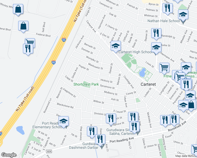 map of restaurants, bars, coffee shops, grocery stores, and more near Hagaman St & Hickory St in Carteret