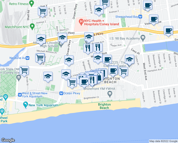 map of restaurants, bars, coffee shops, grocery stores, and more near Ocean View Ave & Brighton 4th Pl in Brooklyn