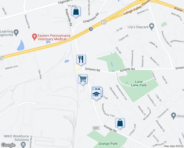 map of restaurants, bars, coffee shops, grocery stores, and more near 147-159 Ramapo Trail in Allentown