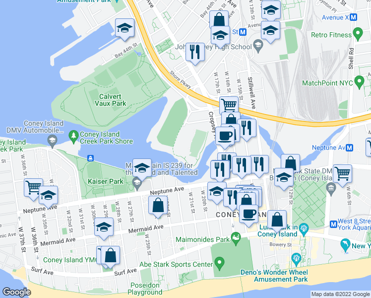 map of restaurants, bars, coffee shops, grocery stores, and more near 52 in Brooklyn