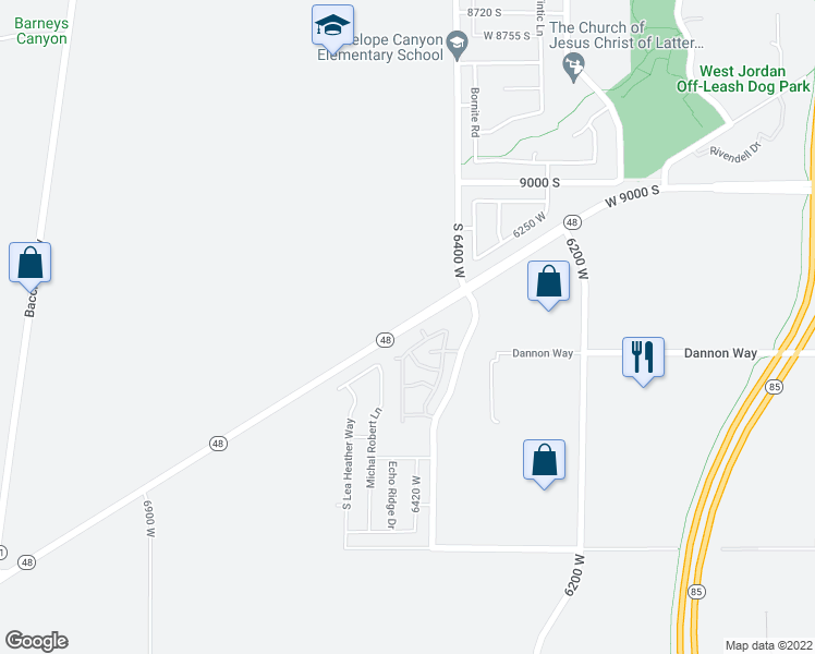 map of restaurants, bars, coffee shops, grocery stores, and more near 6400 New Bingham Hwy in West Jordan