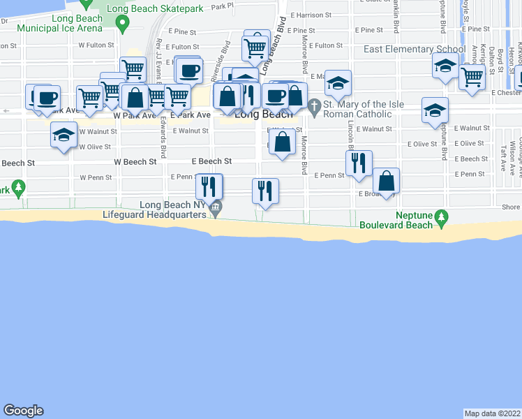 map of restaurants, bars, coffee shops, grocery stores, and more near Long Beach Blvd & Shore Rd in Long Beach