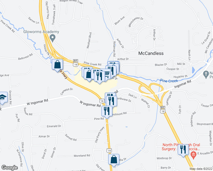 map of restaurants, bars, coffee shops, grocery stores, and more near 9710 Perry Highway in Wexford