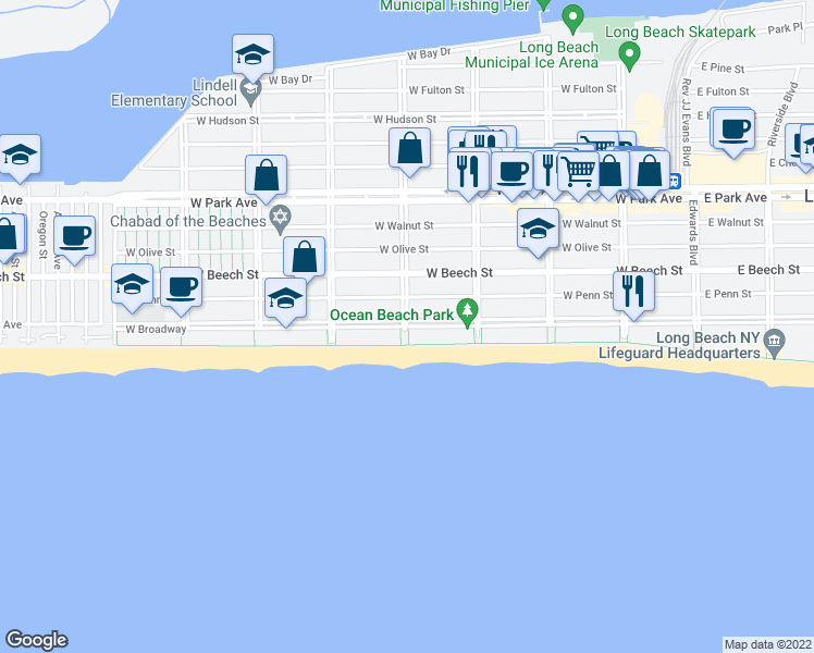 map of restaurants, bars, coffee shops, grocery stores, and more near West Broadway in Long Beach