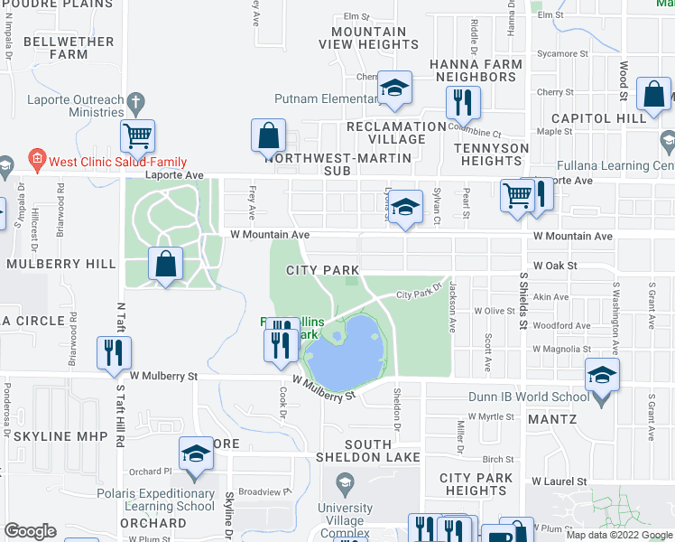 map of restaurants, bars, coffee shops, grocery stores, and more near 1541 West Oak Street in Fort Collins