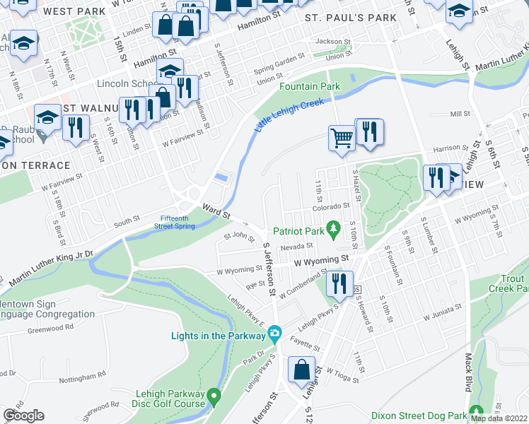 map of restaurants, bars, coffee shops, grocery stores, and more near 701-899 South Jefferson Street in Allentown