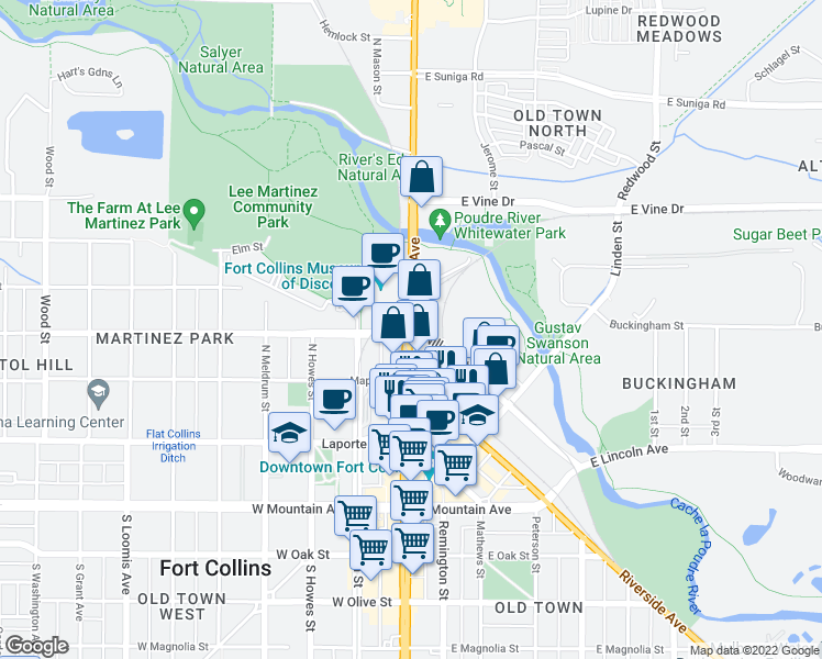 map of restaurants, bars, coffee shops, grocery stores, and more near 410 North College Avenue in Fort Collins