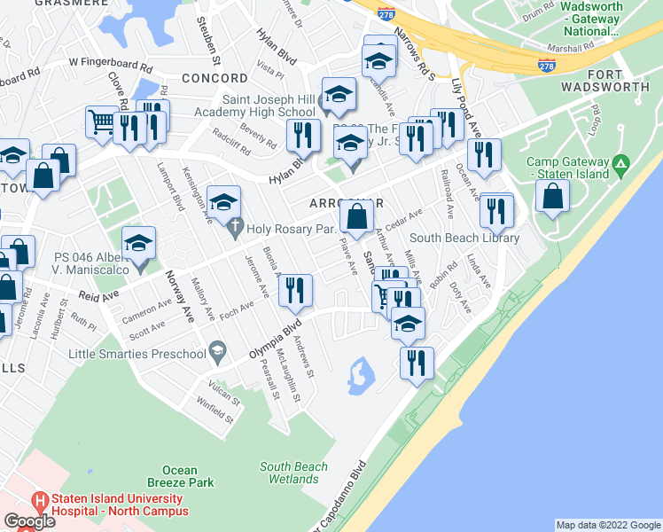 map of restaurants, bars, coffee shops, grocery stores, and more near in Staten