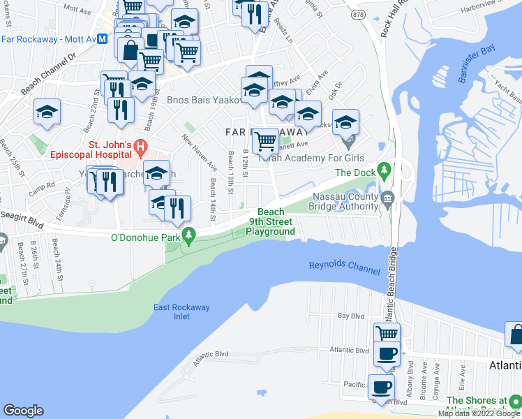 map of restaurants, bars, coffee shops, grocery stores, and more near Seagirt Blvd & Beach 11th St in Queens
