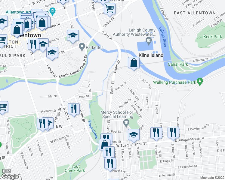 map of restaurants, bars, coffee shops, grocery stores, and more near Basin St & Auburn St in Allentown
