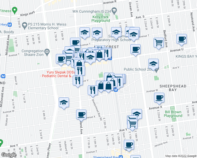 map of restaurants, bars, coffee shops, grocery stores, and more near East 13th Street & Avenue V in Brooklyn