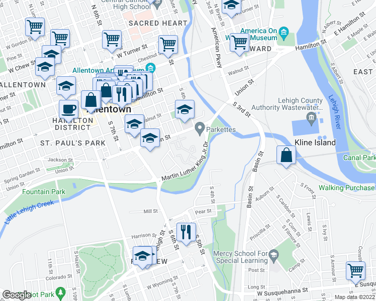 map of restaurants, bars, coffee shops, grocery stores, and more near 200-468 S Levan St in Allentown