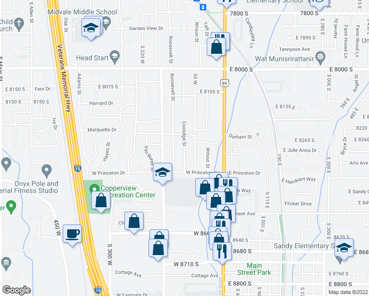 map of restaurants, bars, coffee shops, grocery stores, and more near 777 S 700 E in Midvale