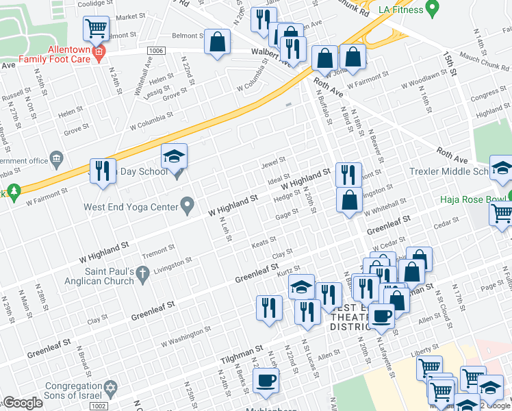 map of restaurants, bars, coffee shops, grocery stores, and more near 1000-1098 North Felix Street in Allentown