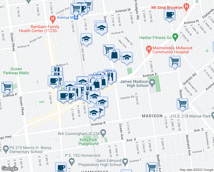 map of restaurants, bars, coffee shops, grocery stores, and more near Kings Hwy & E 19th St in Brooklyn