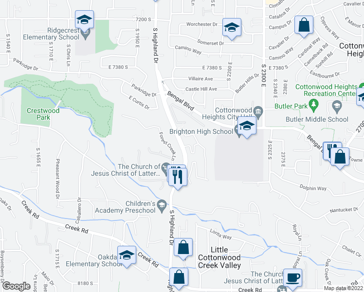 map of restaurants, bars, coffee shops, grocery stores, and more near 7604-7674 S Highland Dr in Cottonwood Heights