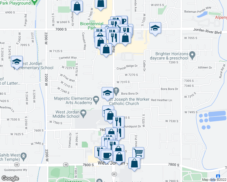 map of restaurants, bars, coffee shops, grocery stores, and more near 7390 Redwood Road in West Jordan