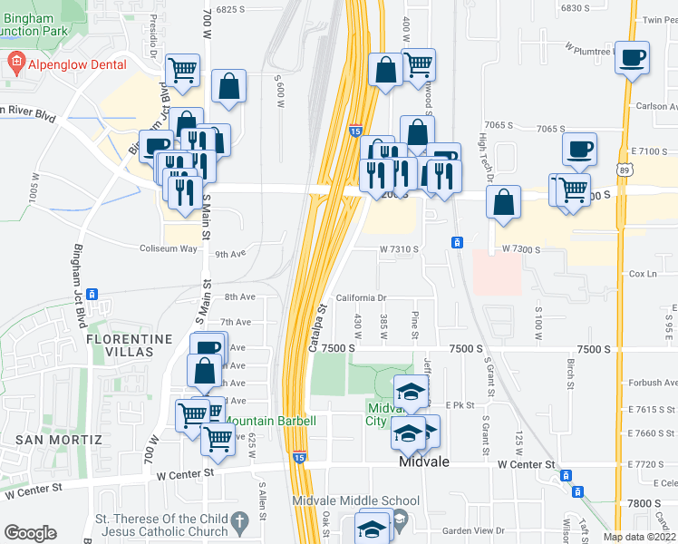 map of restaurants, bars, coffee shops, grocery stores, and more near Veterans' Memorial Highway in Midvale