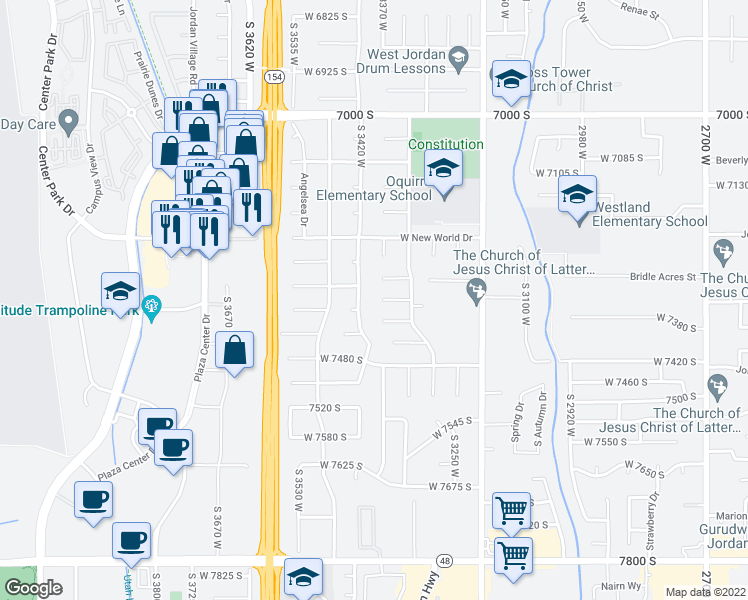 map of restaurants, bars, coffee shops, grocery stores, and more near 3387 Elizabeth Circle in West Jordan