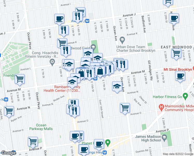 map of restaurants, bars, coffee shops, grocery stores, and more near East 16th Street in Brooklyn