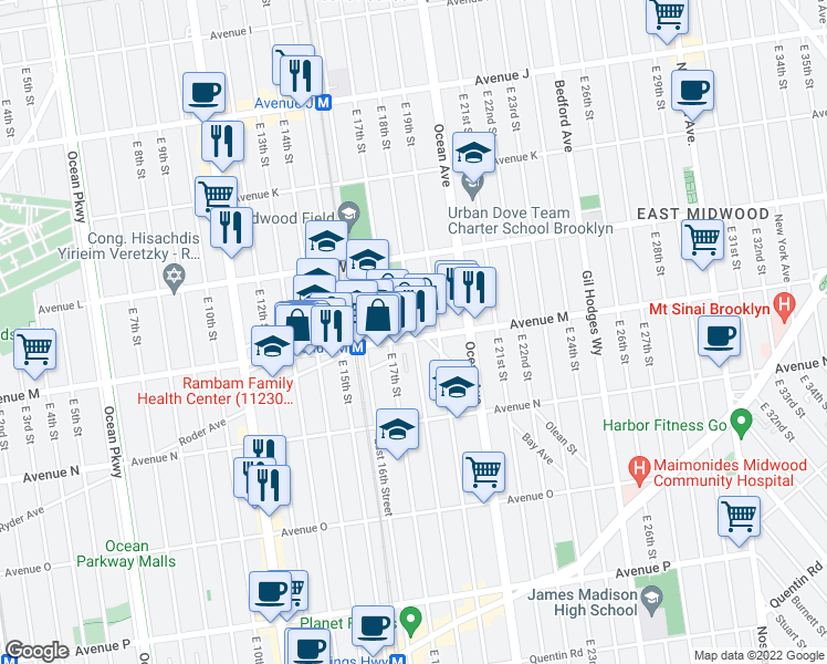 map of restaurants, bars, coffee shops, grocery stores, and more near East 18th Street in Brooklyn