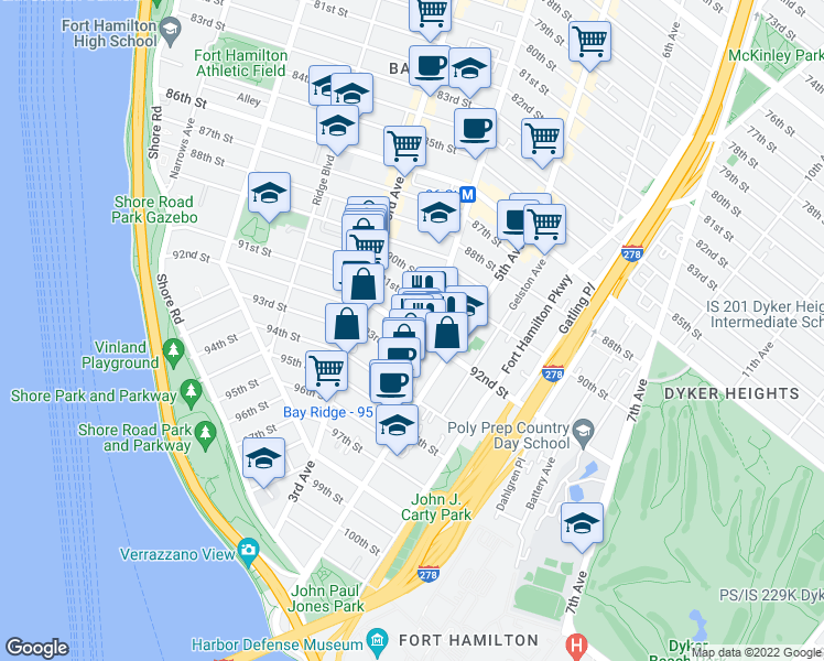 map of restaurants, bars, coffee shops, grocery stores, and more near 345 92nd Street in Brooklyn