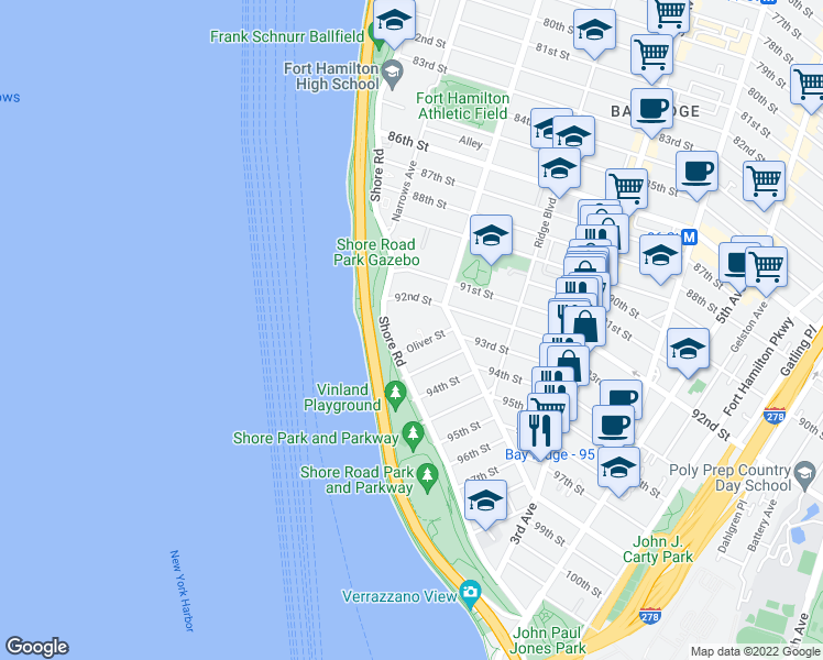 map of restaurants, bars, coffee shops, grocery stores, and more near 9229 Shore Road in Brooklyn