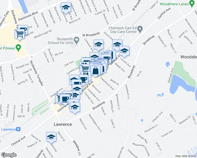 map of restaurants, bars, coffee shops, grocery stores, and more near 5505-5521 Cedarhurst Avenue in Cedarhurst