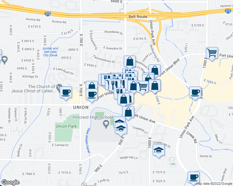 map of restaurants, bars, coffee shops, grocery stores, and more near E Fort Union Blvd in Midvale
