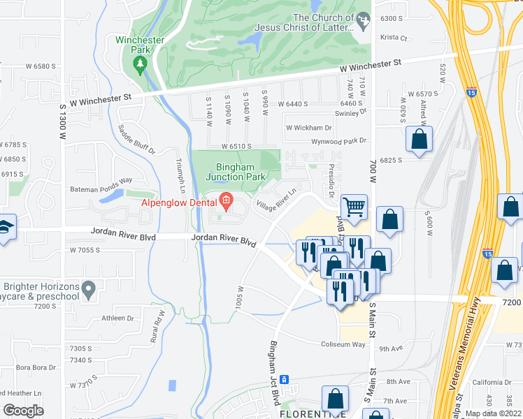 map of restaurants, bars, coffee shops, grocery stores, and more near 1019 Village River Lane in Midvale