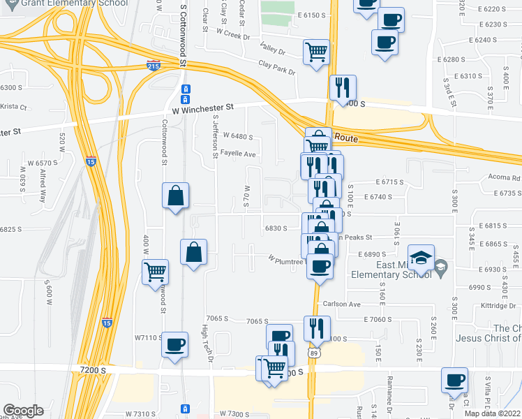map of restaurants, bars, coffee shops, grocery stores, and more near 6826 South 75 West in Murray