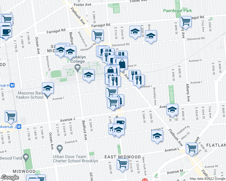 map of restaurants, bars, coffee shops, grocery stores, and more near Nostrand Avenue & Avenue I in Brooklyn