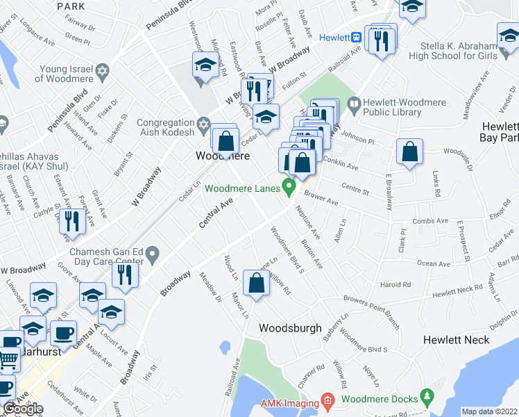 map of restaurants, bars, coffee shops, grocery stores, and more near in Woodmere